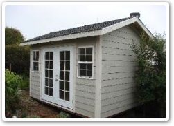 8 x 12 Gable, French doors, 7 inch lap siding
