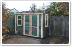 5 x 10 Lean-To, with vintage siding and windows